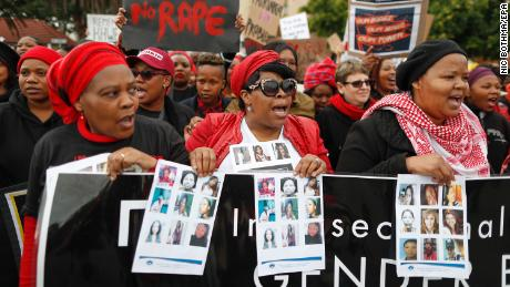 South African women protest against gender abuse in Cape Town, South Africa on  August 1, 2018.