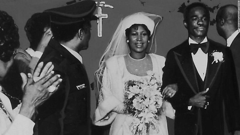 Franklin and Glynn Turman walk down the aisle at their wedding on April 11, 1978.<br /><em><br />Editor's note: A previous version of this caption identified Franklin's husband as Glynn Russell. His full name is Glynn Russell Turman.</em>