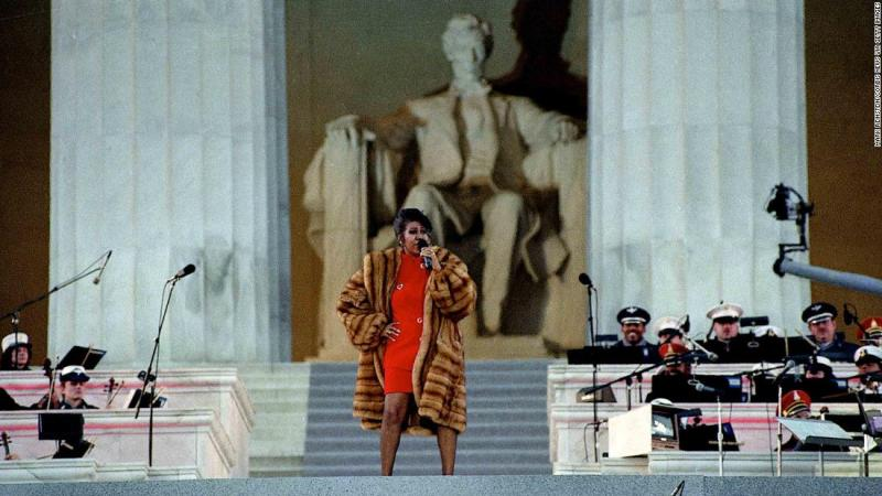 Franklin preforms at the Lincoln Memorial for President Clinton's inaugural gala in 1992.
