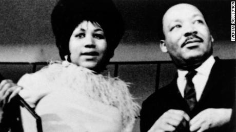 Aretha Franklin and Dr. Martin Luther King Jr. in the late 1960s.
