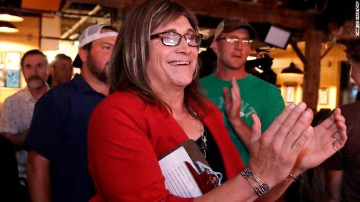 Vermont Democratic gubernatorial candidate Christine Hallquist on primary election night.