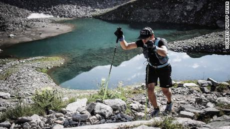 He ascended from several mountain lakes on the Alpine trail.