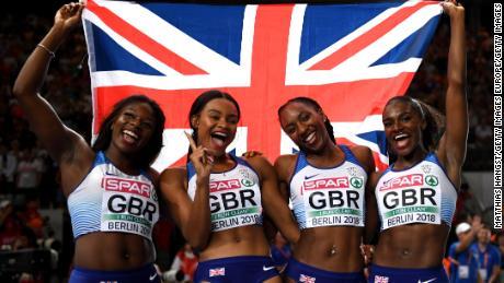 Team GB's Asha Philip, Imani Lansiquot, Bianca Williams and Dina Asher-Smith celebrate 4x100m gold in Berlin.