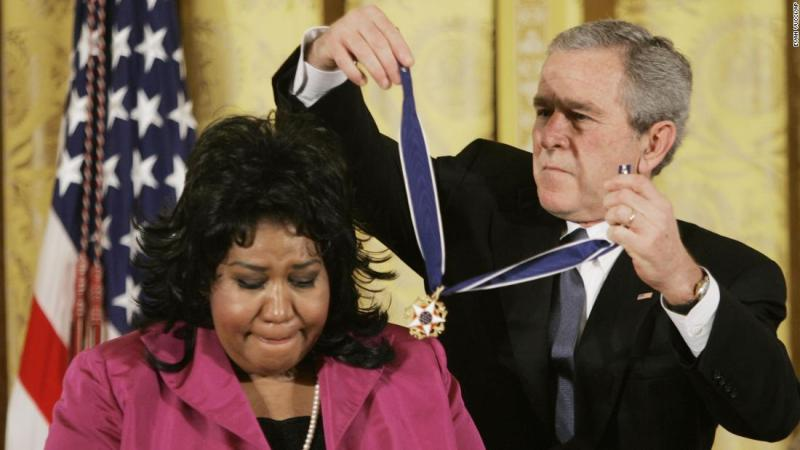 President Bush presents the Presidential Medal of Freedom to Aretha Franklin on November 9, 2005. The award is the nation's highest civilian honor, and recognizes exceptional meritorious service.