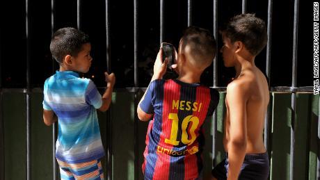 A Cuban boy wears a Barcelona shirt in Havana.