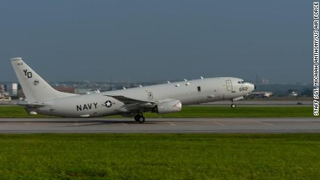 A US Navy P-8A Poseidon takes off on August 10, 2018 from Kadena Air Base, Japan.