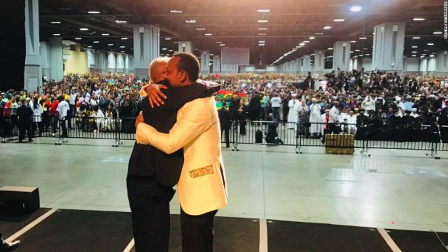 Abiy in an embrace during his American tour.
