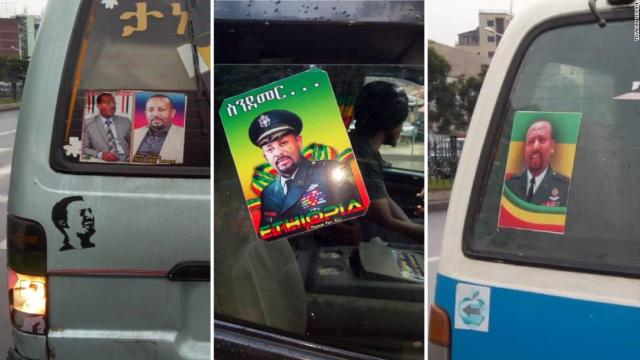 Stickers bearing the face of Ethiopian president Abiy Ahmed adorn taxis around Addis Ababa.