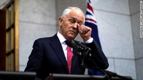 Australia's Prime Minister Malcolm Turnbull gestures as he takes part in a press conference in Canberra on August 21.