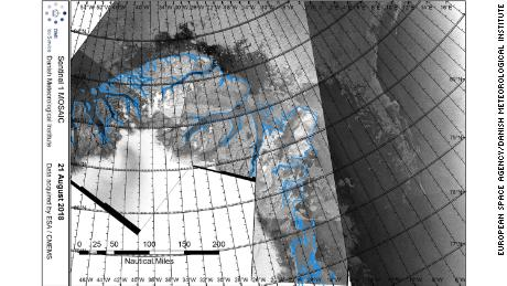 Satellite imagery captured on August 21, 2018, shows the unprecedented retreat of sea ice off the northern coast of Greenland.