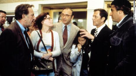 "Neil Simon, center, visits the set of ""The Odd Couple,"" with former wife, Marsha Mason, in 1974."