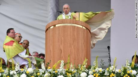 Pope Francis leads Mass at Phoenix Park in Dublin.