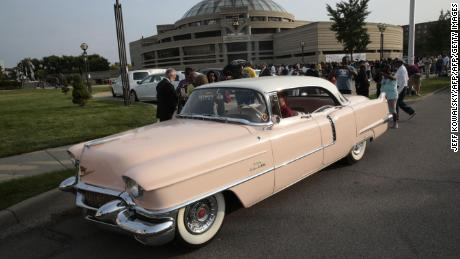 A pink Cadillac owned by Stuart Popp is seen outside the viewing of Aretha Franklin