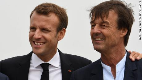 French president Emmanuel Macron (L) poses for photographs with Nicolas Hulot on June 20, 2018.