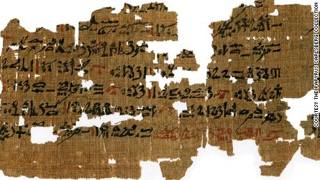 This papyrus, from c. 1500-1400 BC, is inscribed with remedies for eye diseases