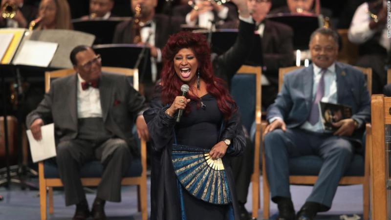 "Singer Chaka Khan performs at Franklin's funeral on Friday. She sang ""I'm Going Up Yonder,"" which was originally sung by Tramaine Hawkins in 1994."