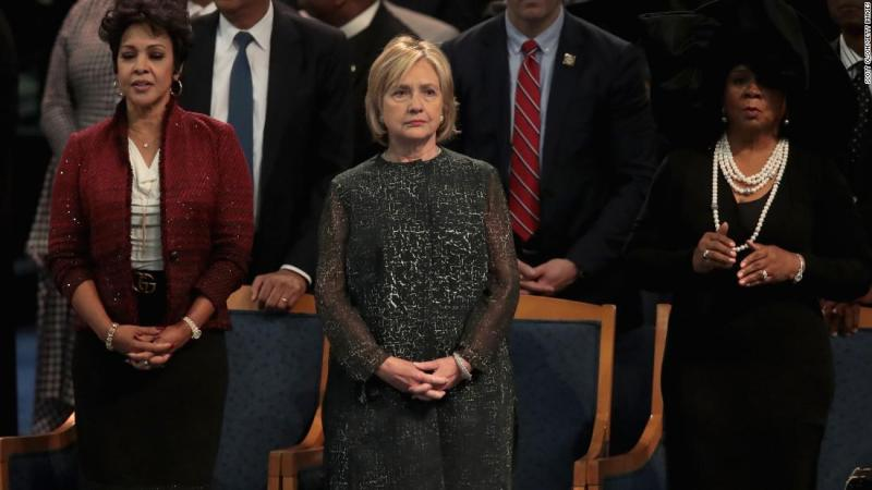 Former Secretary of State Hillary Clinton attends Franklin's funeral on Friday.