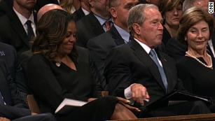 George W. Bush and Michelle Obama share a sweet moment at McCain's memorial service