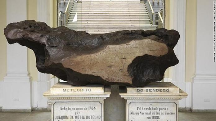 The meteorite housed by Brazil's National Museum.