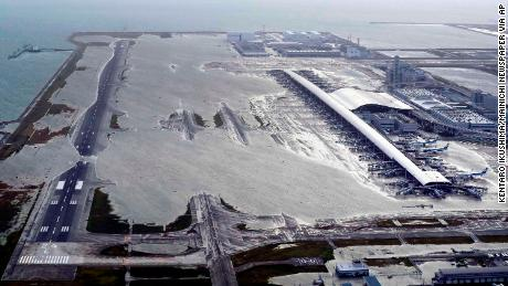 Kansai International Airport is partly inundated following a powerful typhoon in Izumisano, in Japan's Osaka prefecture.