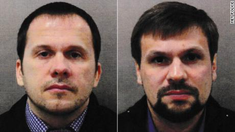Salisbury attack suspects Alexander Petrov, left, and Ruslan Boshirov. Both have been claimed to be undercover agents of Russian military intelligence.