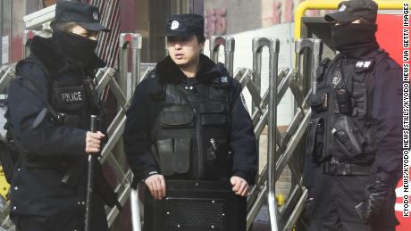 Photo taken in February 2018 shows police officers patrolling in the Xinjiang Uyghur Autonomous Region of China.