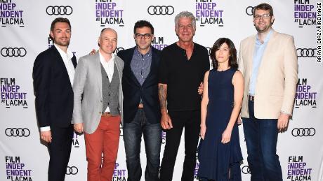 'Parts Unknown' team members Jeff Allen, Zach Zamboni, Tom Vitale, Sandy Zweig and Hunter Gross with Bourdain in 2017
