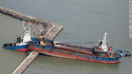 A ship collided with a breakwater due to strong winds whipped by Typhoon Jebi in Nishinomiya city, Hyogo prefecture, September 5, 2018.