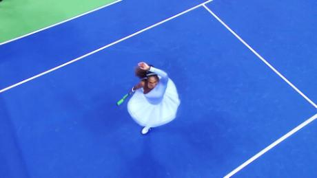 Williams seen on court during her semifinal win over Anastasia Sevastova.