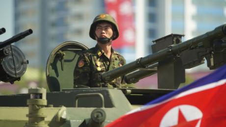 A soldier is seen during celebrations for North Korea's 70th anniversary.