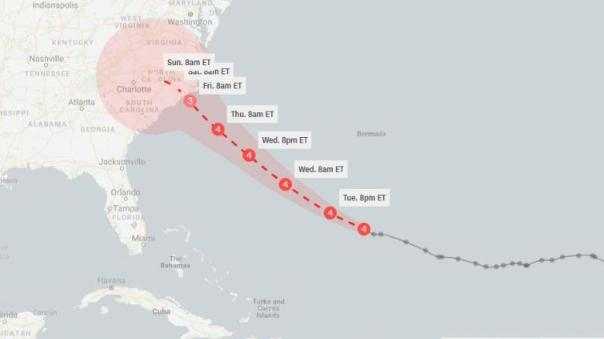 This forecast cone, created around 11 a.m. ET Tuesday, shows the probable range of Florence's center for the next five days.
