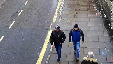 A CCTV screen grave shows Alexander Petrov and Ruslan Boshirov on a Salisbury Street, according to the London Metropolitan Police.
