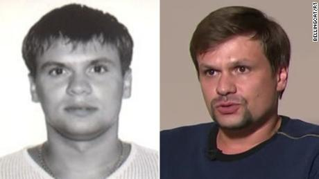 "As part of their report, Bellingcat released an image of a man they claim to be Col. Anatoliy Chepiga (L). They allege this is one of the same men who appeared in an interview on RT last month (R), named by British authorities as Novichok suspect ""Ruslan Boshirov,"" which is believed to be an alias."