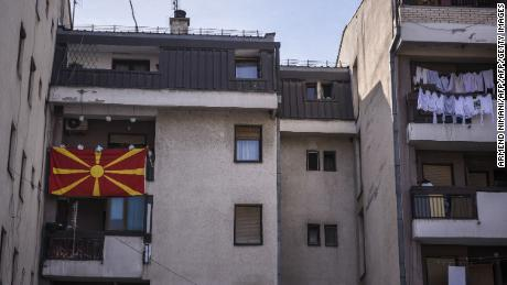A Macedonian flag hangs from a Skopje balcony ahead of the referendum.