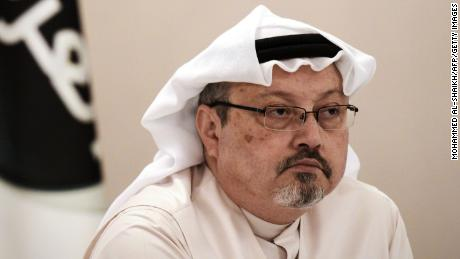 A general manager of Alarab TV, Jamal Khashoggi, looks on during a press conference in the Bahraini capital Manama, on December 15, 2014. The  pan-Arab satellite news broadcaster owned by billionaire Saudi businessman Alwaleed bin Talal will go on air February 1, promising to