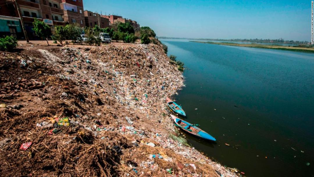 Scarcity is not Egypt's only water-related problem -- the deteriorating quality of the Nile's water is also an issue. Garbage has piled up on the river's banks in the village of Abou Shosha, 370 miles south of Cairo .
