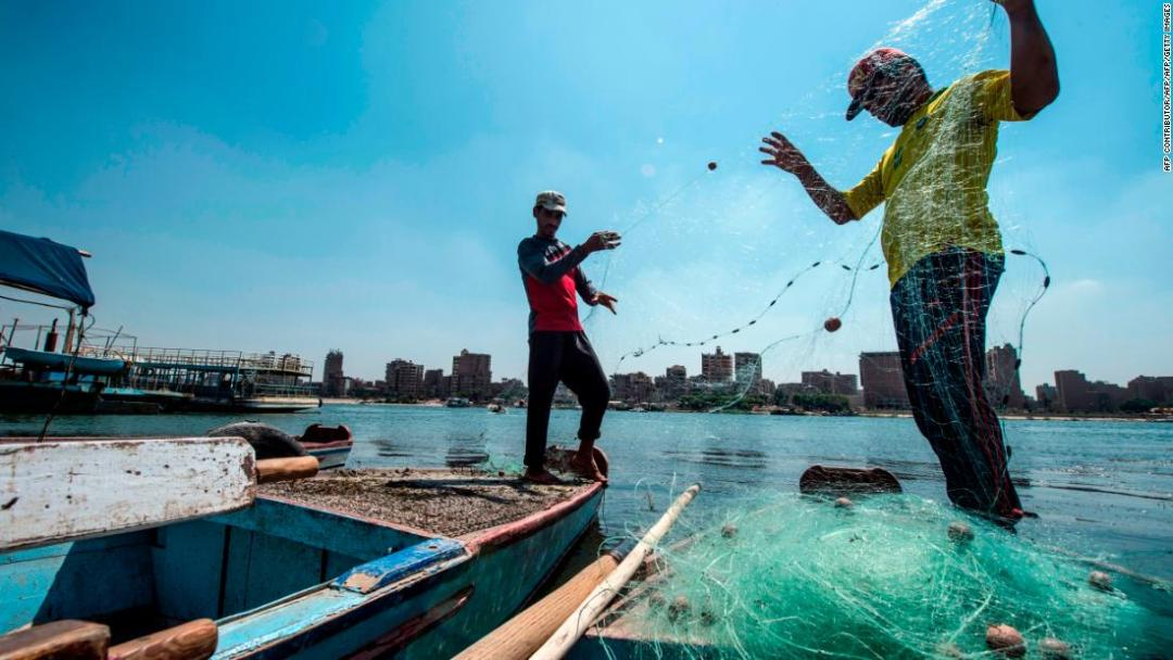As well as providing water for agriculture and domestic use, the Nile provides local fishermen with a livelihood.