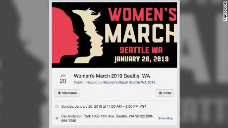 One of the fake Women's March events posted to Facebook that promoted the wrong date for January's march. The event has since been removed