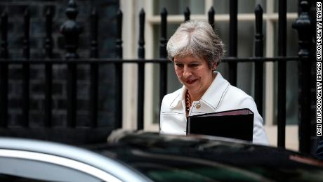 British Prime Minister Theresa May leaves Downing Street on October 15, 2018 in London, UK.