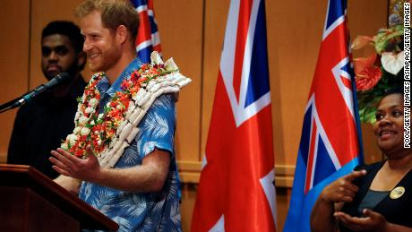Prince Harry speaks during a visit to the University of the South Pacific.