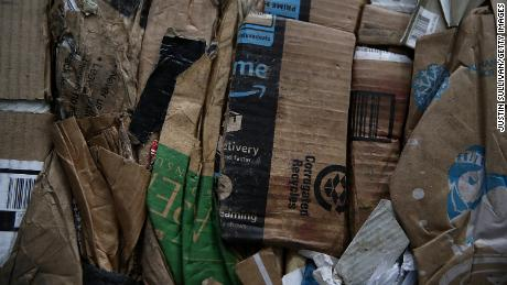 SAN FRANCISCO, CA - JANUARY 04:  Amazon Prime boxes are seen in a bundle of recycled cardboard at Recology's Recylce Central on January 4, 2018 in San Francisco, California. Recycle centers are seeing a spike in cardboard recycling following the holidays after a record year for online retailers. The U.S. Postal Service estimates that they delivered ten percent more packages in 2017 with Amazon shipping over five billion items for Prime members.  (Photo by Justin Sullivan/Getty Images)