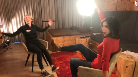 Mikaela Shiffrin (left) chats to Christina MacFarlane for CNN's Alpine Edge in Soelden, Austria.