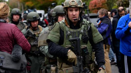 Rapid reaction SWAT members leave the scene of the mass shooting at the Tree of Life Synagogue in Pittsburgh on Saturday.