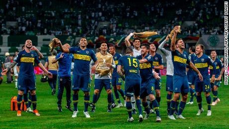 Boca Junior players celebrate after defeating Palmeiras.