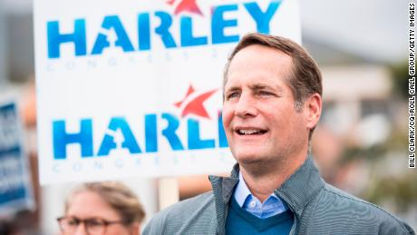 Harley Rouda, Democrat running for California's 48th Congressional district seat in Congress, listens to speakers during his campaign rally in Laguna Beach, Calif., on Sunday, May 20, 2018. California is holding its primary election on June 5, 2018.