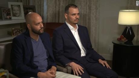 Abdullah Khashoggi (left) with his brother Salah Khashoggi during an interview with CNN on Sunday.