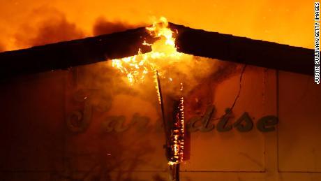 Flames consume the Paradise Skilled Nursing facility Thursday in Paradise, California.
