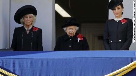 Camilla, Duchess of Cornwall, Queen Elizabeth II and Catherine, Duchess of Cambridge, attend the Remembrance Sunday ceremony at the Cenotaph in central London.