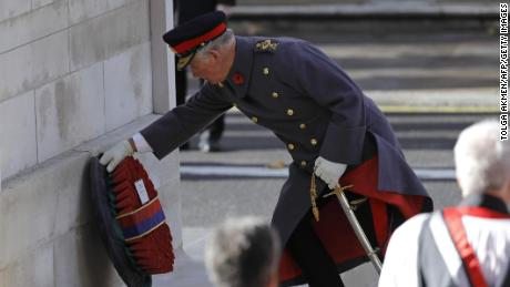 Prince Charles lays the Sovereign's wreath at the Cenotaph.