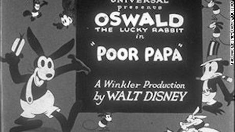 The title screen of 'Poor Papa,' another Disney animation featuring the character Oswald the Lucky Rabbit.